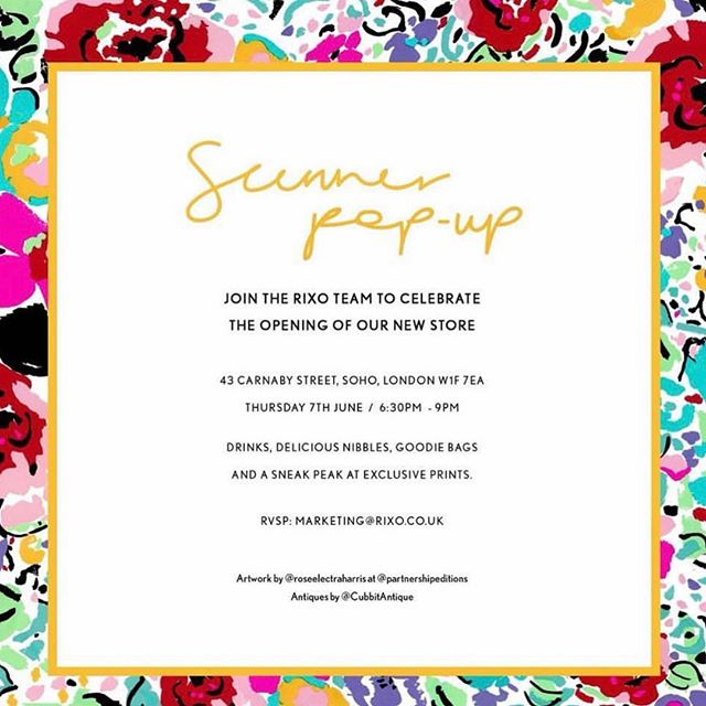 WE ARE THRILLED TO BE SCENTING THE @rixolondon POP UP SHOP PARTY IN CARNABY STREET TONIGHT 🍸👡🎉 • Drinks, nibbles and goodie bags! • One of my favourite brands, vintage inspired, hand painted clothes...gorgeous!!! • The pop up is open until 14th July. 43 Carnaby Street, Soho, London, WIF 7EA • #rixolondon #summerpopup #goodiebag #englishbrand #SustainableFragranceHouse #truegraceuk